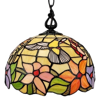 Tiffany Style Hummingbird 1-light Pendant Lamp AM1082HL12B Amora Lighting