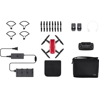 DJI Spark Mini Drone - Lava Red Spark Mini Drone - Fly More Combo With Remote and Accessories - Lava Red