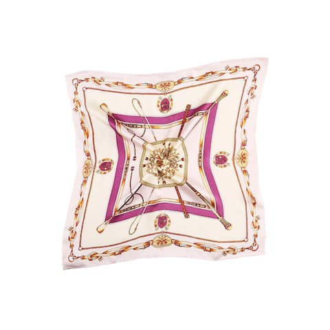 Women Fashionable Chains Print Silk Square Scarf - Pink