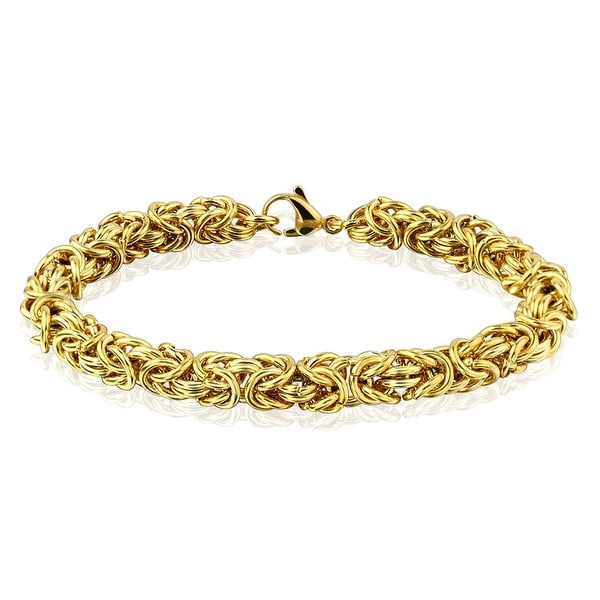 Multi Wire Tangled Ball Chain Gold IP Stainless Steel Bracelet (7 mm) - 8 in