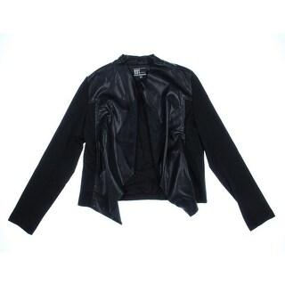 Kut Womens Open-Front Blazer Faux Leather Open Front