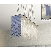 Modern 10 Light Chandelier Dressed With Blue Crystal