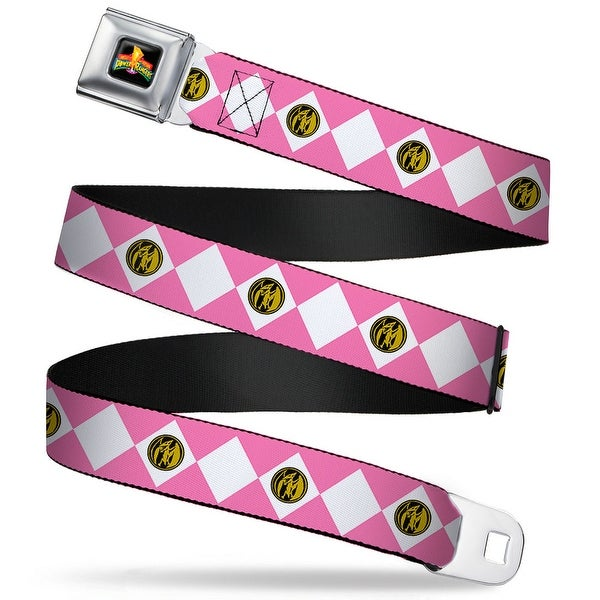 Power Rangers Logo Full Color Diamond Pink Ranger Webbing Seatbelt Belt Seatbelt Belt