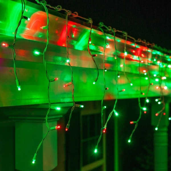 """Wintergreen Lighting 72030 LED 5mm Icicle Lights with 6"""" Spacing and White Wire - Red/Green - N/A"""