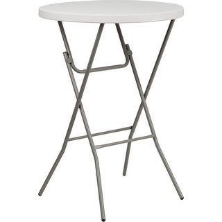 "Offex 32"" Round Granite White Plastic Bar Height Folding Table [OF-RB-32RB-BAR-GW-GG]"