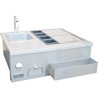 KoKoMo Grills Outdoor DIY Built In Bartender With Sink For BBQ Island Kitchen - Silver