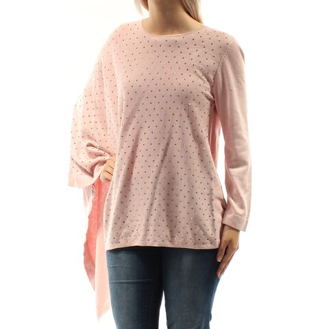 Womens Pink Long Sleeve Jewel Neck Casual PONCHO Sweater Size S