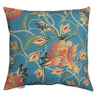 "20"" Outdoor Deck and Patio Turquoise & Orange Vibrant Floral Square Throw Pillow - Blue"