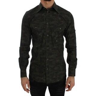 Dolce & Gabbana Military Green Cotton Casual Shirt - 38