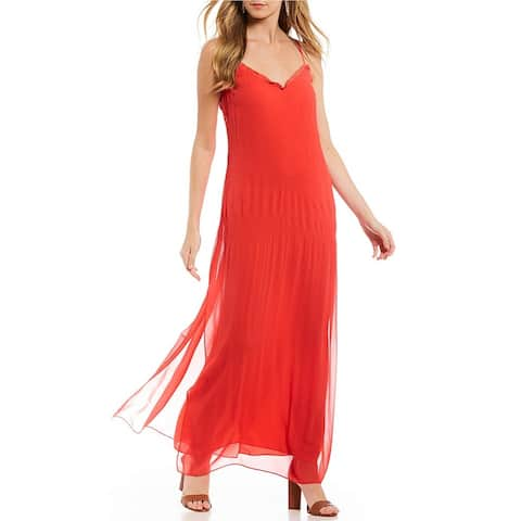 Laundry by Shelli Segal Women's Novelty Pleated Maxi Dress, Hibiscus, 8