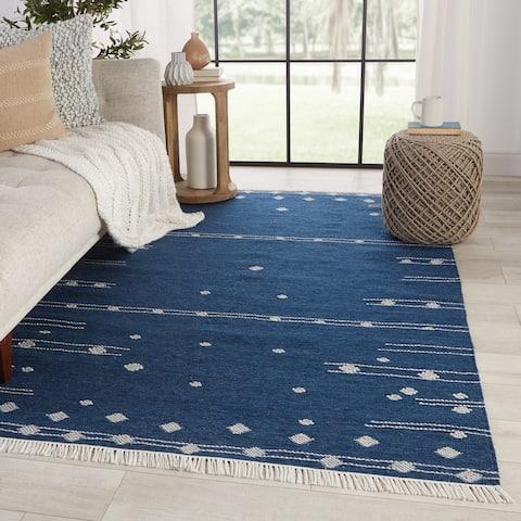 Libbi Indoor/ Outdoor Geometric Blue/ White Area Rug