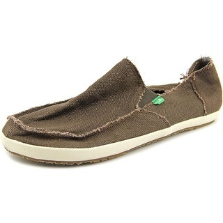 Sanuk Rounder Hobo Men Moc Toe Canvas Brown Loafer