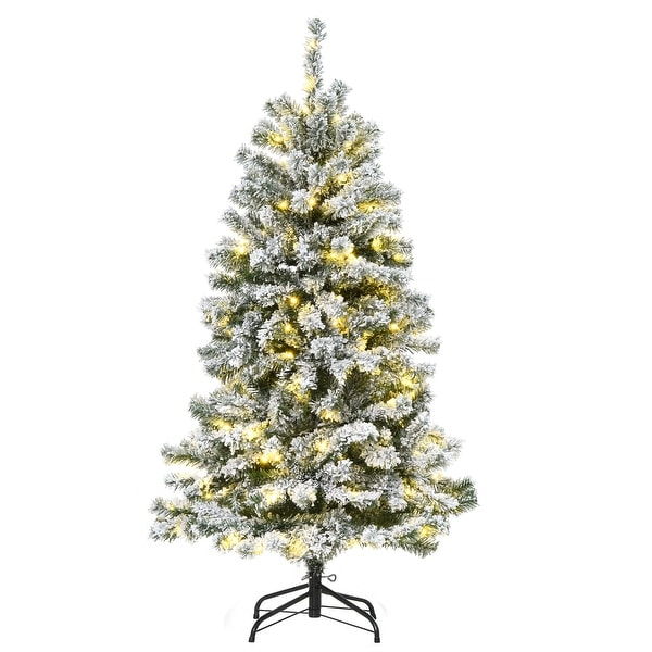 HOMCOM Snow Flocked Artificial Tree with 400 Branches 200 LED Warm White Light for Holiday Home Christmas Decoration, Green. Opens flyout.