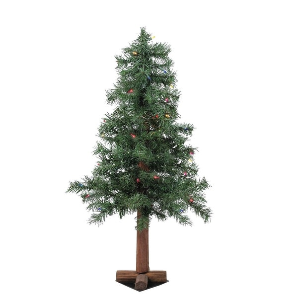 3' Pre-Lit Woodland Alpine Artificial Christmas Tree - Multi Lights