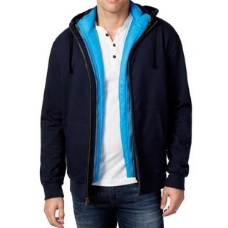 Weatherproof NEW Blue Mens Size 2XL Zip-In Vest Layered Hooded Jacket
