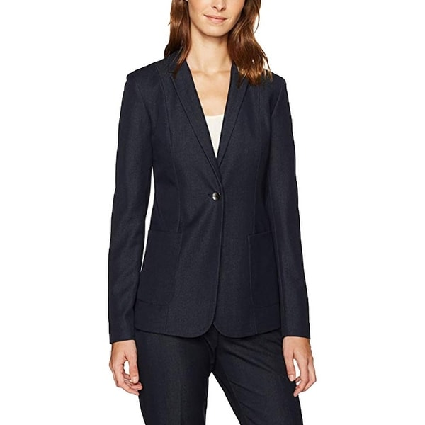 T Tahari Women's Jacket Midnight Blue Size 12 Notch Collar 1 Button. Opens flyout.