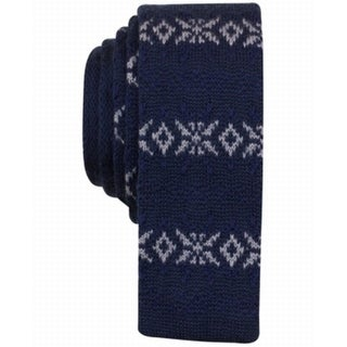 Bar III NEW Blue Navy Mens One Size Fair Isle Skinny Knit Neck Tie