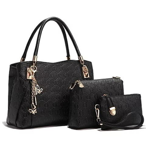 3 Piece Pu Leather Handbag Purse Bags Set