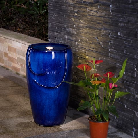 Demta Cobalt Blue Ceramic Fountain with LED Light by Havenside Home