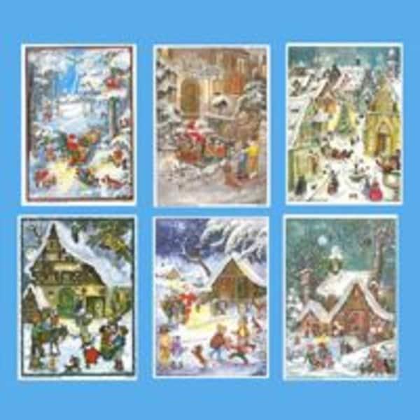 Pack Of 12 Children Scene Advent Christmas Calendars With Envelopes