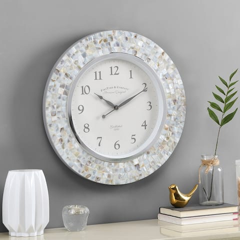 FirsTime & Co.® Vivien Ivory Pearl Mosaic Clock, American Crafted, Ivory Pearl, Plastic, 19.5 x 1.75 x 19.5 in