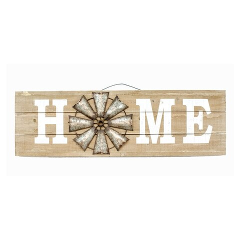 "12""x38"" Home Wood Sign w/Wind Mill"