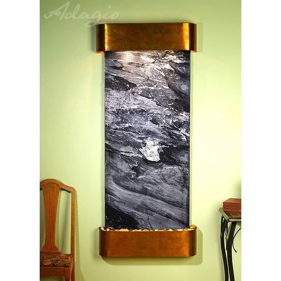 Adagio Inspiration Falls Fountain w/ Black Spider Marble in Rustic Copper Finish