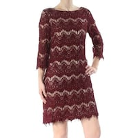 JESSICA HOWARD Womens Burgundy Lace Illusion 3/4 Sleeve Boat Neck Above The Knee Sheath Party Dress  Size: 8