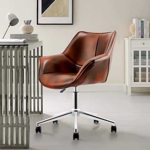 Modern PU Leather Height-Adjustable Swivel Computer Desk Chair