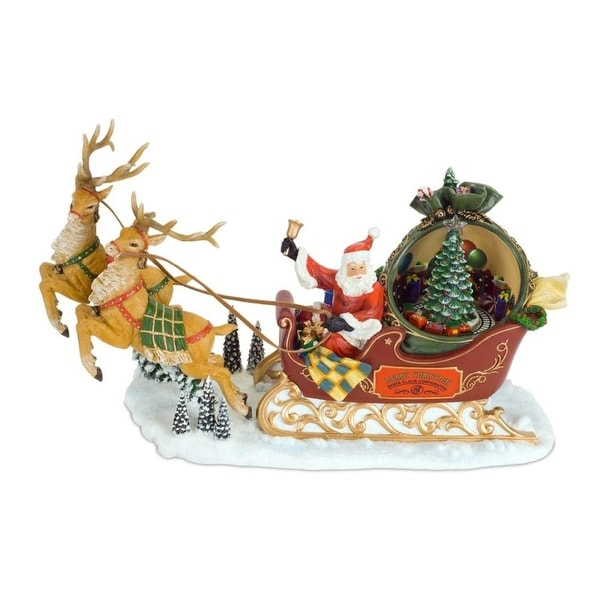 """Pack of 2 Musical and Lighted Santa With Reindeer Christmas Figurines 13"""""""