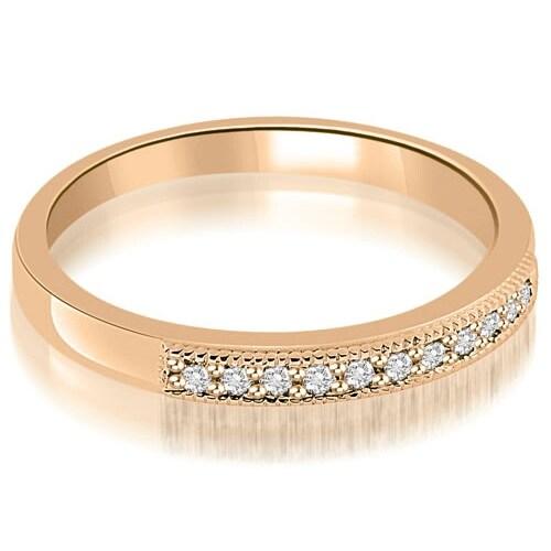 0.20 cttw. 14K Rose Gold Classic Milgrain Round Cut Diamond Wedding Band