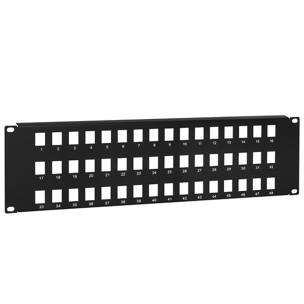 "Blank Keystone Patch Panel, 48 port, 19"" x 3U"