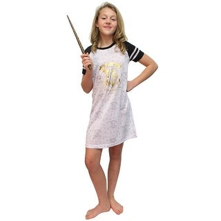 Intimo Big Girls' Harry Potter Hogwarts Gold Foil S/S Raglan Night Gown