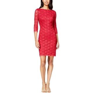 Calvin Klein Womens Petites Cocktail Dress Lace Sequined