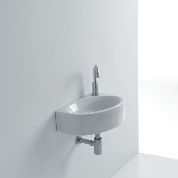 """WS Bath Collections Mega WSB5701F Mega 16-1/2"""" Ceramic Wall Mounted Bathroom Sink with Single Faucet Hole and Overflow - White"""
