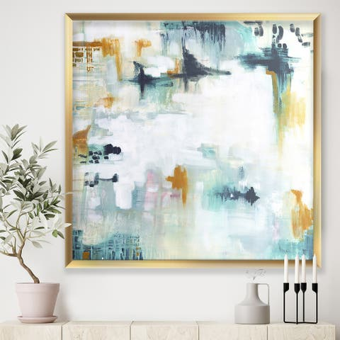 Designart 'Teal and White Composition' Modern & Contemporary Framed Art Print
