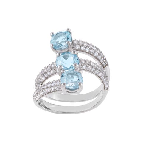 3-Stone Round-Cut Blue Topaz Openwork Bypass Style Ring, Sterling Silver