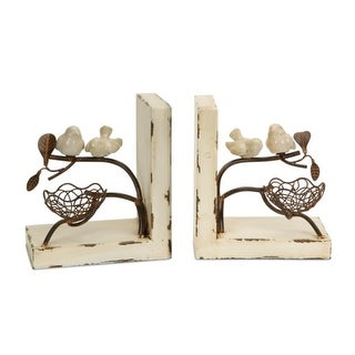 """Set of 2 New Romance Distressed Cream and Rust Birds with Nest Bookends 7"""""""