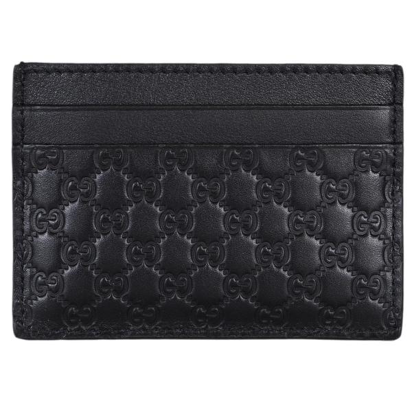 9bcc2c6f60da Gucci Men's 262837 Black Leather Micro GG Guccissima Small Card Case -