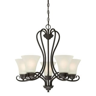 """Westinghouse 6305700 Dunmore 5 Light 7"""" Wide Single Tier Shaded Chandelier with Frosted Glass Shades - Gold"""