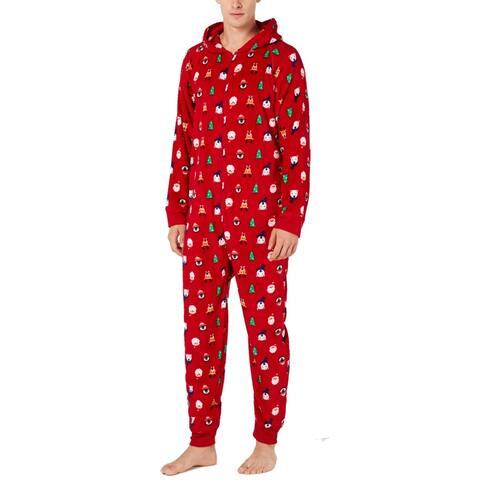 Family PJs Men Sleepwear Red Size 2XL Hooded Christmas Fleece One-Piece