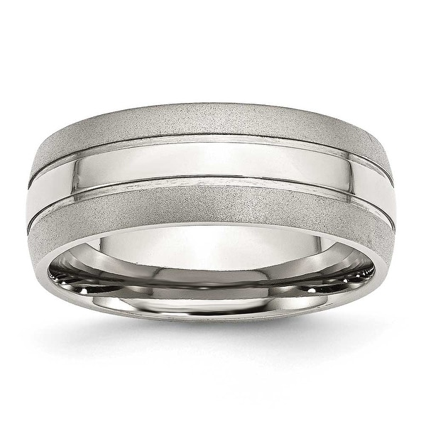 Bridal Stainless Steel Polished Grooved Ring