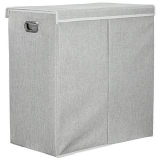 "Link to American Art Decor Collapsible Double Laundry Hamper with Removable Liners and Magnetic Lid - Grey (25.5"" x 25"") Similar Items in Laundry"