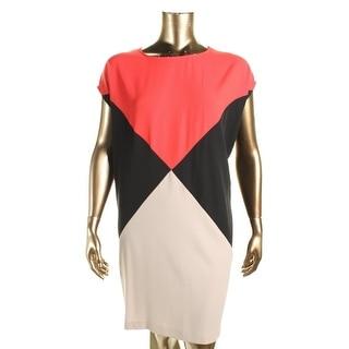 Calvin Klein Womens Plus Casual Dress Colorblock Cap Sleeves