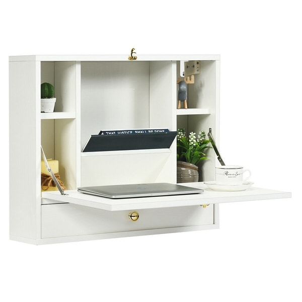 Gymax White Wall Mounted Folding Laptop Desk Hideaway Organizer. Opens flyout.