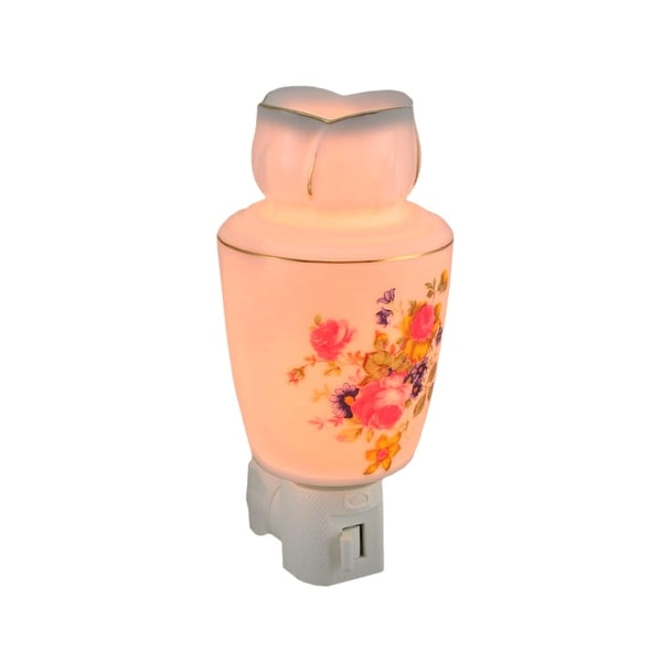 White Porcelain Pink Roses Floral Oil Warmer Night Light Gold Accents
