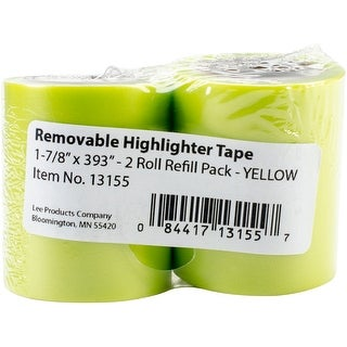 "Lee Products Removable Highlighter Tape 1-7/8""X393"" 2/Pkg-Yellow"