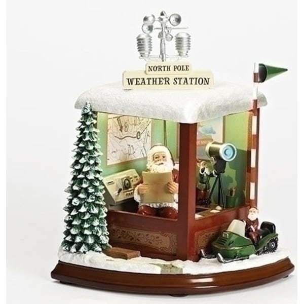 """Set of 2 Musical LED Santa Claus Weather Station with Revolving Antenna Figure 9.5"""" - brown"""
