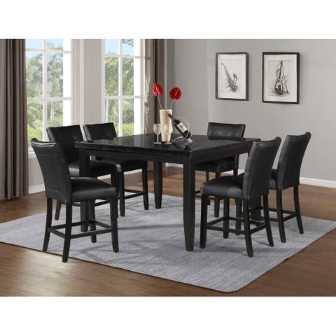 Porch & Den Merkem Square Black Marble Top 7-Piece Counter Height Dining Set