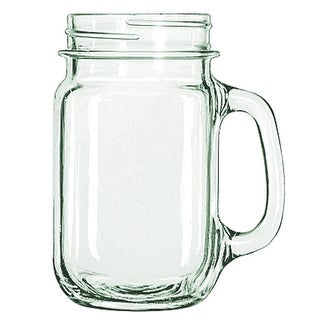 Libbey Drinking Mason Jar Mug with Handle, Clear, 16-Ounces, 12-Pack